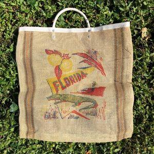 Vintage 40s Florida Novelty Burlap Market Tote Bag